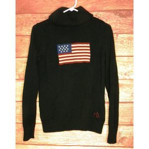 RALPH LAUREN Classic Flag Turtleneck Sweater Sz M